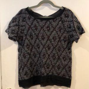 LOLA wool and silk short sleeve sweater